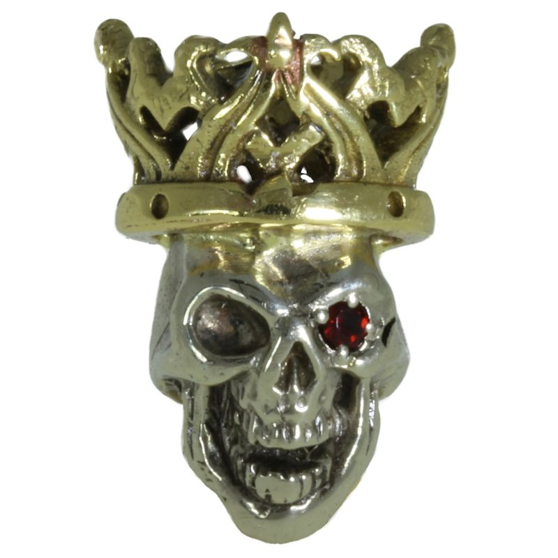 Cursed King in Brass/White Brass w/Red Garnet Eye (Polished Crown) by Covenant Everyday Gear
